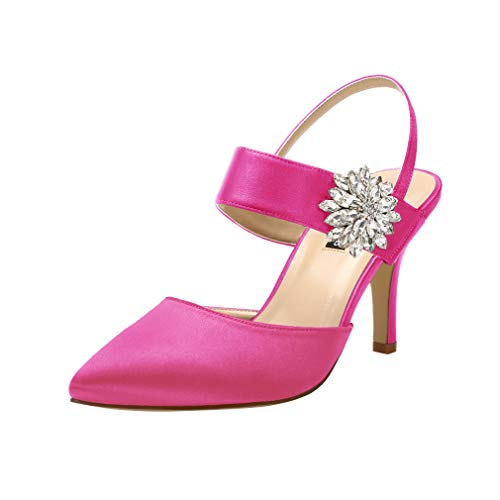 ERIJUNOR E0064 Mid Heel Shoes for Women Pointed Toe Slingback Rhinestone Brooch Satin Dress Pumps Evening Prom Wedding Shoes Hot Pink Size 10