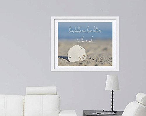 Sea Shell Quote Art Print, Sand Dollar Shell Photograph, Inspirational Photographic Print, Inspirational Wall Art, Coastal Beach Decor, Nautical Wall Art, White Blue Grey Beach Bathroom Bedroom Decor