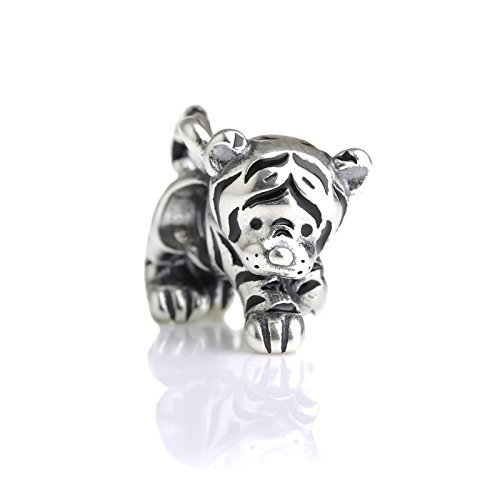 Lion Charm Italian - Cute Kitty Tiger Sterling Silver Charm Bead S925, Cute Tiger Cat Kitty Panther Silver Charm Bead Pendant, Silver Lion Tiger Necklace, Pandora compatible Charm Jewellery