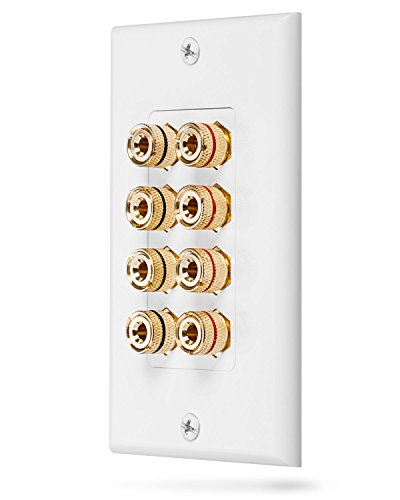 Fosmon (Quad Speaker) Home Theater Wall Plate - Premium Quality Gold Plated Copper Banana Binding Post Coupler Type Wall Plate for 4 Speakers (White)