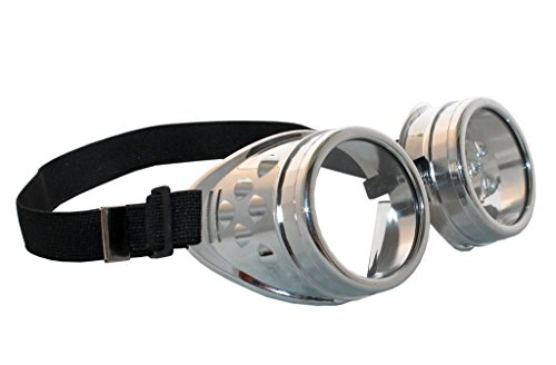 Costume Adventure Chrome Aviator Minion Style Goggles in Silver ()
