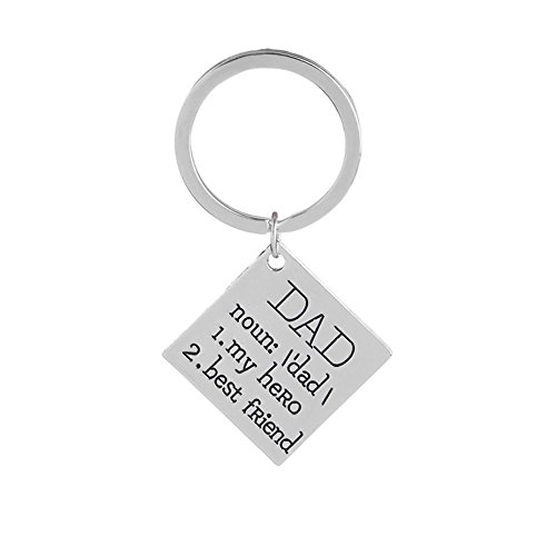 Powerfulline Lovely Dad Letters Metal Square Pendant Pendant Necklace Key Chain Jewelry Keychain