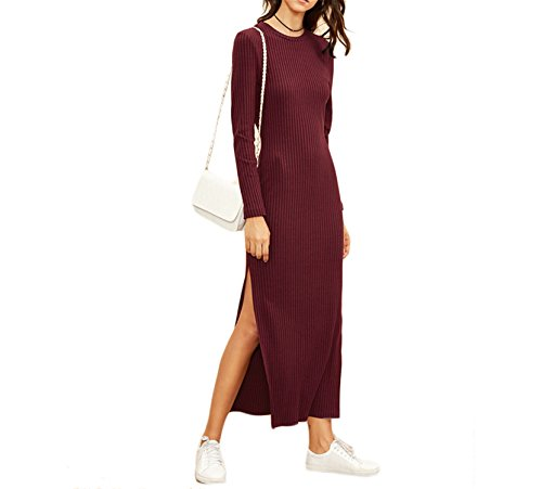 Kaured Fashion Women European Style Women Fall dressesBurgundy Knitted Long Sleeve High Slit Ribbed Dress Red S