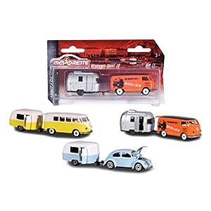 Majorette Vintage Trailer Assortment, Miniaturfahrzeuge, Set mit Fahrzeug und Anhänger, Spielzeugauto mit Anhänger aus…