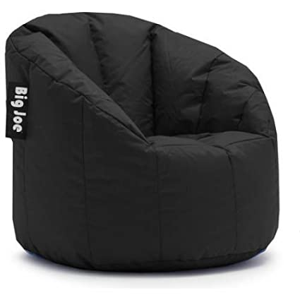 Filled with UltimaX Beans Big Joe Milano Bean Bag Chair Set of 2 - Limo Black Soft but Firm Support