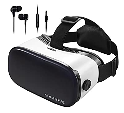 MAGIOVE 3D VR Glasses Virtual Reality Headset Mobile Phone 3D Movies for iPhone + Stereo Headphone