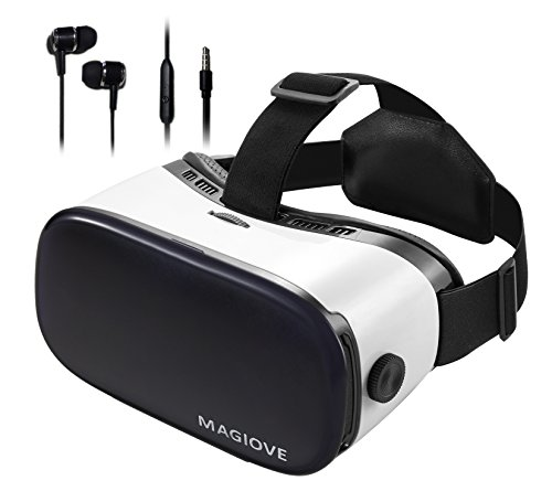 MAGIOVE 3D VR Glasses Virtual Reality Headset Best Mobile Phone 3D Movies for iPhone + Stereo Headphones