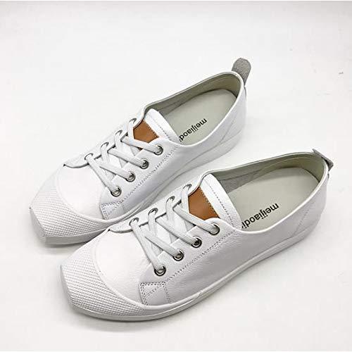 Comfort Toe de Beige Zapatos ZHZNVX Sneakers y Cuero Heel Square Primavera Blanco de Verano Mujer Beige Flat O8npq
