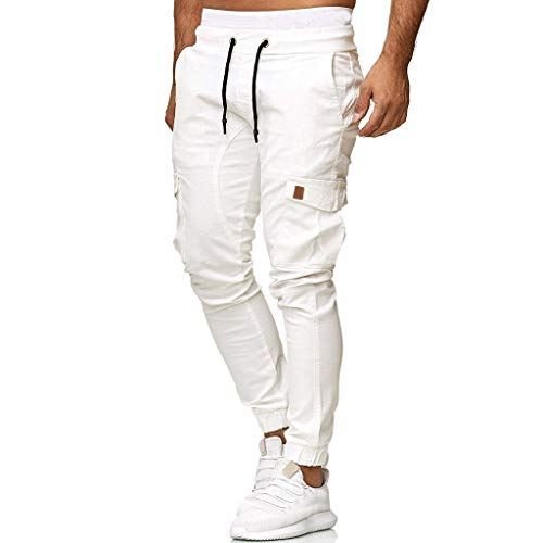 PENGY Men Sweatpants Slacks Summer Casual Elastic Joggings Sport Solid Baggy Pockets Trousers White ()