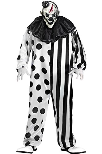 Scary Halloween Costumes - FunWorld Killer Clown Complete, Black/White, One Size