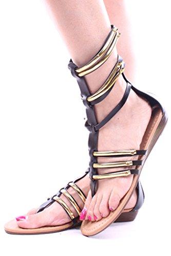 Scarpe Da Sera Con Cinturini Gladiatore In Simil Pelle Nera Per Sempre