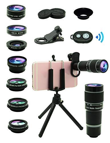Cell Phone Camera Lens Kit,11 in 1 Universal 20x Telephoto Lens,0.63Wide Angle+15X Macro+198°Fisheye+2X Telephoto+Kaleidoscope+CPL/Starlight/Eyemask/Tripod,for Most iPhone Smartphone (Black)