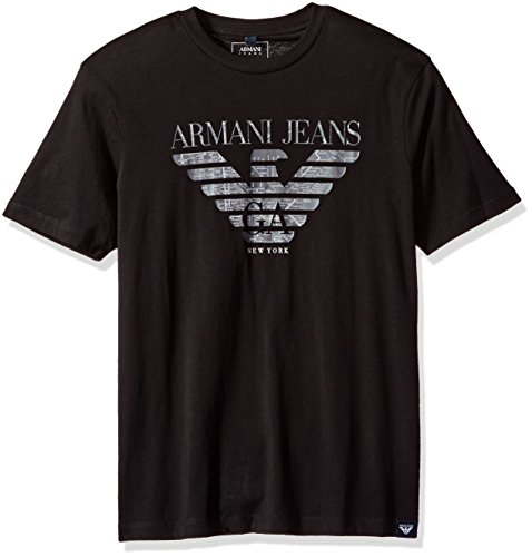 Armani Cotton Jeans - ARMANI JEANS Men's Plus Size Pima Cotton Eagle Logo T-Shirt, Black, Small