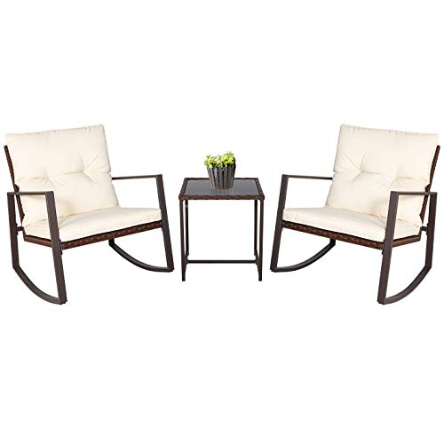 SUNCROWN Outdoor Patio Furniture 3-Piece Bistro Set Brown Wicker Rocking Chair - Two Chairs with Glass Coffee Table (Beige Cushion) (Swivel Rattan Replacement Cushions Chair)