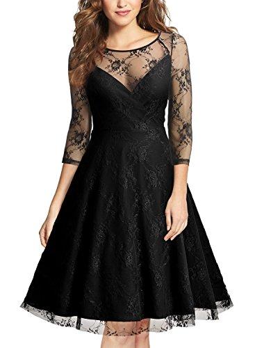 lace 3/4 sleeve skater dress - 8