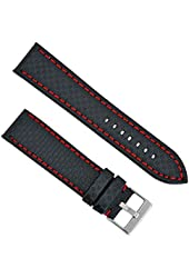 Hadley Roma Carbon Fiber Style 22mm Red Colored Stitching Watch Strap