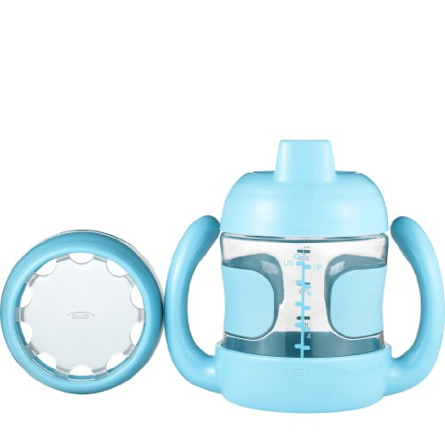 OXO Tot Sippy Cup Set with Bonus Training Lid and Removable Handles (7 oz.) - Aqua