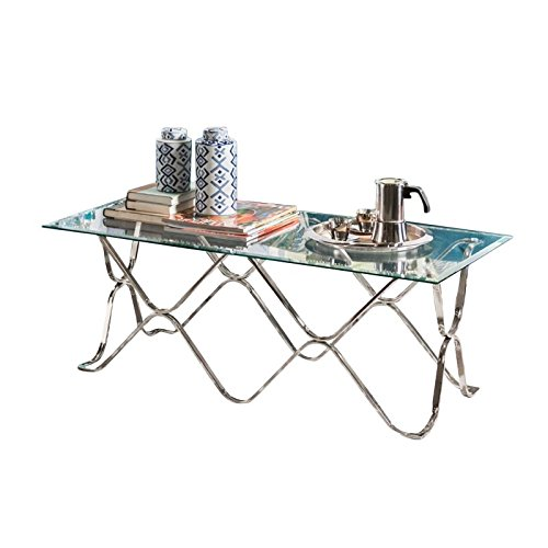 Bowery Hill Glass Top Coffee Table in Chrome