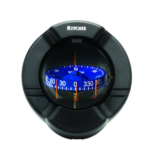 Ritchie Venture Compass Combi-Dial With Flush Mount And 12V Green Night Light (Black, 3 3/4-Inch)