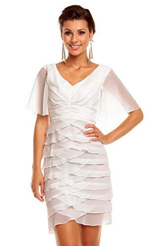 Mayaadi Kleid Ballkleid Festkleid Abendkleid Partykleid Cocktailkleid Reißverschluss HS-343 Weiß ExL0p