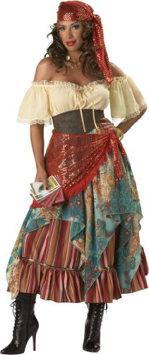 InCharacter Costumes Women's Fortune Teller Costume Tan/Red/Blue, Medium - Woman Gypsy Costumes