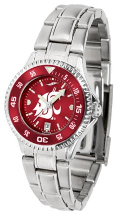 SunTime Washington State Cougars Competitor AnoChrome Ladies Watch with Steel Band and Colored Bezel