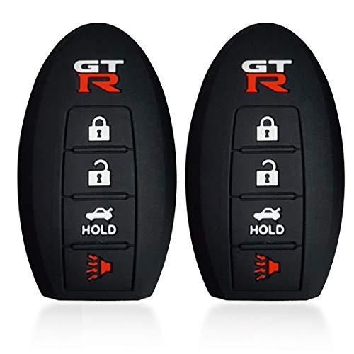 Nissan R35 Gtr - Massimiliano Incas 2Pcs Dobrev Black 4 Buttons Silicone Case Protector Key Fob Smart Car Remote Holder for Nissan GTR R35 (Black and Black)