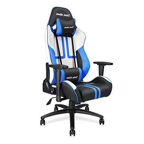 Andaseat Ergonomic High-back Recliner Office Chair Gaming Racing Chair Swivel Rocker Tilt E-sports Chair with Armrests/Backrest/Seat Adjustment with Lumbar Support and Headrest (White/Black/Blue) Andaseat