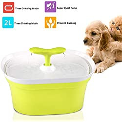 ONME Pet Fountain, Pet Water Dispenser, Healthy and Hygienic Automatic Drinkwell-2.8L with 2W Low Power Consumption,Ultra Quiet Pump, for Dogs, Cats, Birds and Small Animals,Yellow-Green