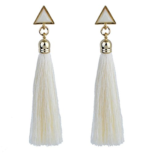 Teardrop Fringe Earrings (Aurorax Women Vintage Rhinestones Crystal Tassel Dangle Stud Long Tassel Fringe Earrings Fashion Jewelry (White))