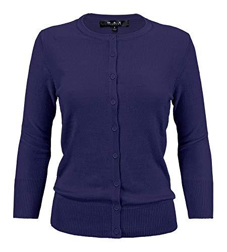 (YEMAK Women's 3/4 Sleeve Crewneck Button Down Knit Cardigan Sweater CO079-NAV-1X Navy)