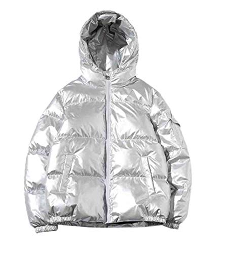 Spirio Mens Thicken Warm Metallic Hooded Winter Padded Quilted Coat Puffer Jacket Silver - Jacket Quilted Metallic