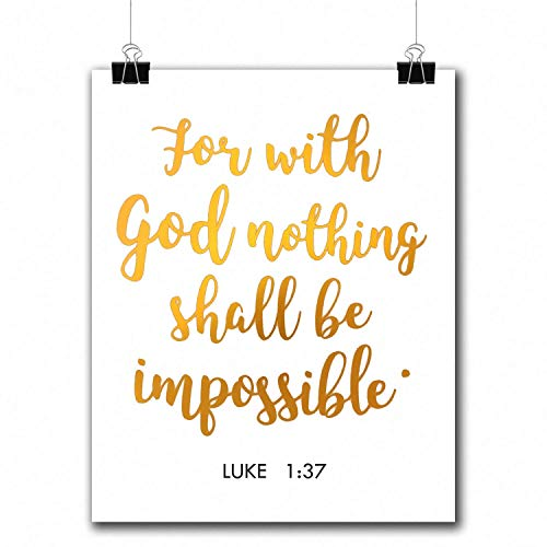 VILIGHT Bible Verses Gold Foil Wall Art Decor Quotes Printed - Inspirational Room Office Decal Posters - 8x10 inches (Luke 1:37)
