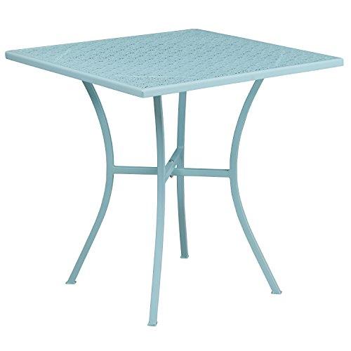Flash Furniture 28'' Square Sky Blue Indoor-Outdoor Steel Patio -