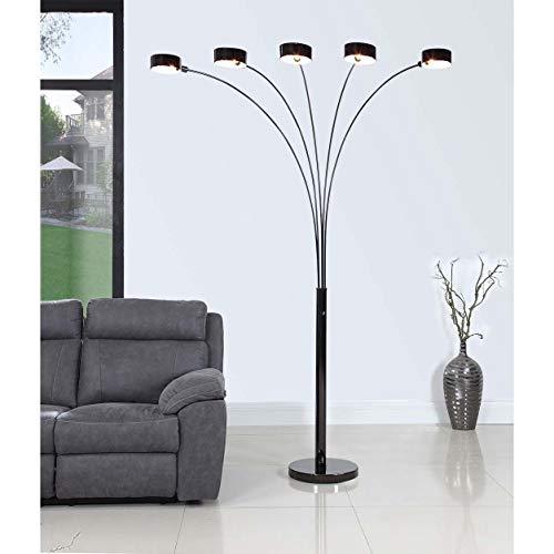 Artiva USA LED207901JB Micah Plus Modern LED 88-inch 5-Arched Jet Black Floor Lamp with ()