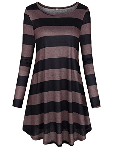 Stripes with Striped Sleeve Plaid Long Dress Loose Pockets Casual Faddare Brown Tunic Women's SqwzXYP