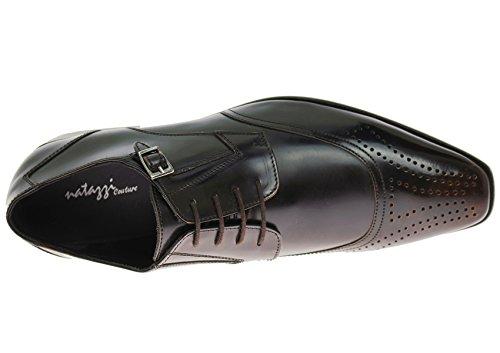 Natazzi Fait À La Main Des Hommes En Cuir Chaussure Pisa À Lacets Captoe Oxford Ox-brun