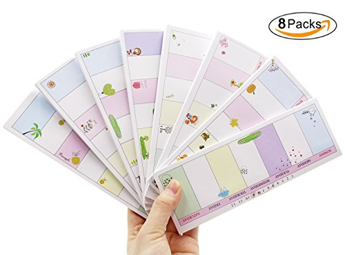 8 PCS Cute Sticky Notes Weekly Planner Schedule Memo Self-Stick Pads 40 Sheets/Pad,8 Pad/Pack