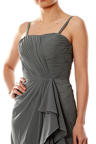 MACloth Women Spaghetti Straps Long Chiffon Bridesmaid Dress Formal Evening Gown Turquesa