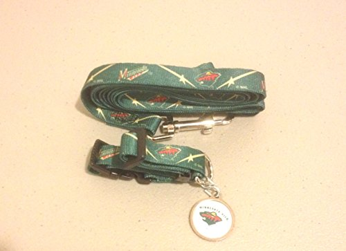 Minnesota Wild Dog 3pc Pet Set Leash Collar ID Tag SMALL