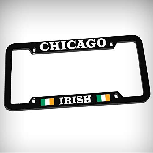 (Chicago Irish Zinc Metal Tag Holder Car Auto License Plate Frame Decorative Border - Black Sign for Home Garage Office Decor )