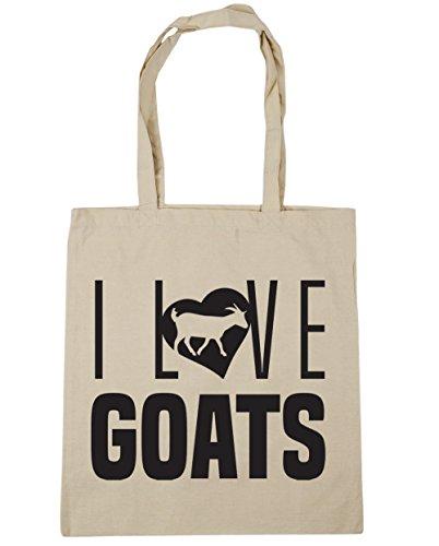 HippoWarehouse I Love Goats Tote Shopping Gym Beach Bag 42cm x38cm, 10 litres Natural