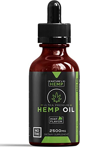Hemp Oil Extract for Pain, Anxiety & Stress Relief - 2500mg Full Spectrum Organic Hemp Drops - Pure Hemp Extract With MCT - Natural Hemp Oils for Better Sleep, Mood & Stress - Zero THC CBD Cannabidiol