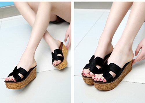 ZPPZZP Ms sandali pantofole spessa a tacco alto stile Coreano 37EU nero
