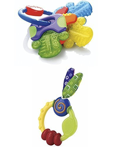 Nuby Icybite Hard/Soft Teething Keys and Wacky Teething Ring