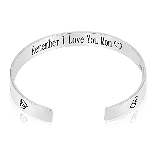 QTMY Remember I Love You Mom Forever and Always Cuff Bracelet Bangle Cuff Mother's Day Gift (Sterling Silver) by QTMY