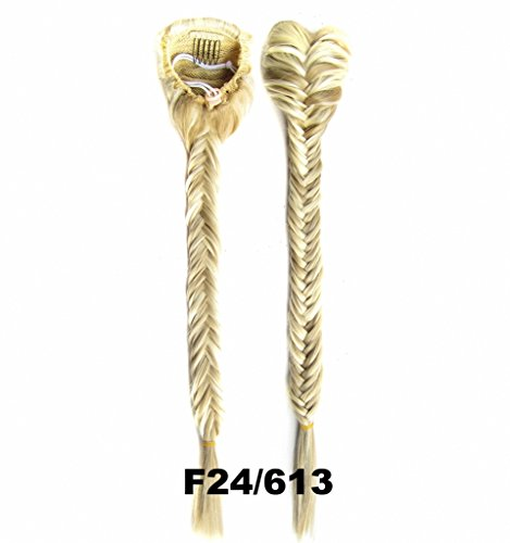 FESHFEN Long Cute Fishtail Braided Ponytail Clip in/on Braided Rope Hair Chignon Drawstring Braid Fishtail Plait Ponytail Hair Extensions Hairpiece 19 Inch 130g Pale Golden Blonde and Bleach (Braid In Ponytail)
