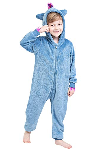Anna King Kids Animal One-Piece Pajamas Costume Hooded Cosplay Onesies Plush Sleepwear for Girls & Boys Dinosaur Size 4]()