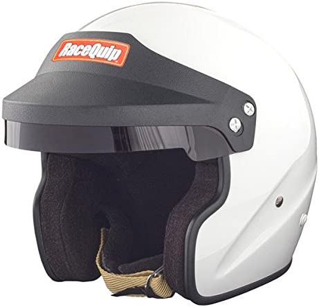RaceQuip 253115 Gloss White Large OF15 Open Face Helmet Snell SA-2015 Rated