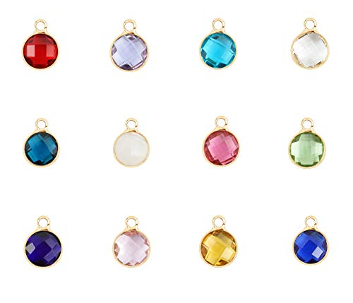 2 sets Mixed Birthstone Charms 6mm Austrian Crystal Beads 14k Gold Plated (24pcs) for Jewelry Craft Making ()